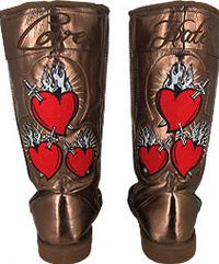 Bronze uggs metallic boots bleeding heart tattoo print