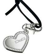 D&g Dolce Gabbana silver sparkly heart pendant thong necklace jewelry jewellery fashion accessories