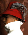Feathered red cloche handmade hat