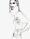 black white romantic Fashion illustration in ink