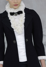 Tough touches chanel couture black jacket white ruffle blouse