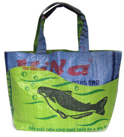 Eco accessories bags purses repurposed rice bags whale design motif tote bag shopper