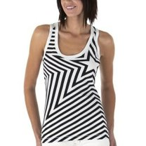 Graphic deco black and white summer tank tee