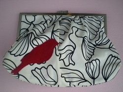 Handmade black white bird print clutch handbag bag purse fashion accessories