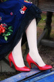 Red vegan pumps shoes