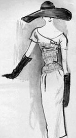 Fashion illustration classic black white ink 50s style