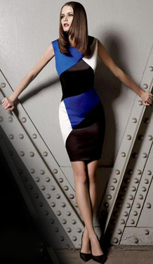 blue black white color block dress