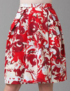 Red White Spring Floral Print skirt carolina herrera