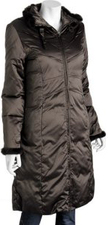 Stylish coffee espresso brown shiny sateen designer puffer coat