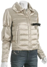 Stylish off white champagne sateen shiny designer puffer coat jacket