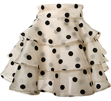 Black and white large polka dot ruffled cocktail hostess apron