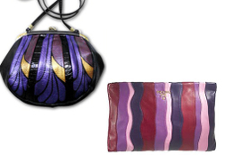 Prada purple pink striped pochette and handpainted vintage bag handbag purse clutch alternative