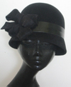 Black classic chic flapper cloche wool hat