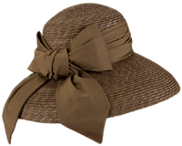 Glamourous_wide brim chocolate brown straw Derby garden party hat