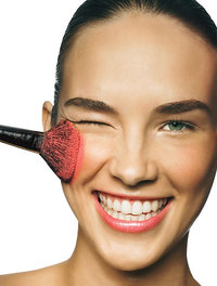 Great skin applying makeup blush