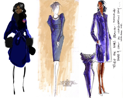 karl lagerfeld sketches. Inauguration Gown Sketches