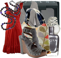 Red_dress_gray_grey_accessories