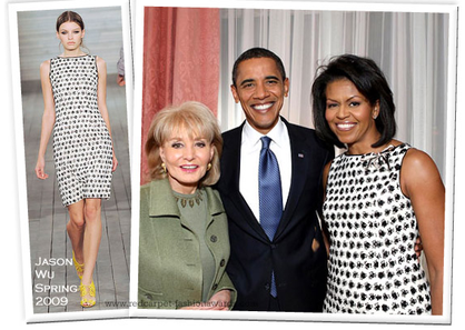 Michelle obama black white barbara walters dress jason wu