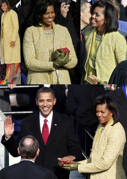 Michelle obama yellow green inauguration day isabel toledo dress