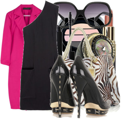 Black_one_shoulder_dress_pink_coat