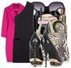 One_shoulder_black_dress_pink_coat