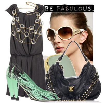 Green_print_pumps_gray_grey_dress_2
