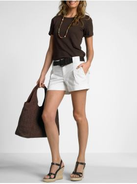 White Shorts Look Crisp But Still Casual Paired with Chocolate ...