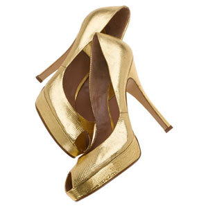Fashiontribes.com: Gold Platform Peep-Toe Pumps by Laurence Dacade - Now That's Worth Getting Outta Bed For. FASHIONTRIBES FASHION & SHOE BLOG