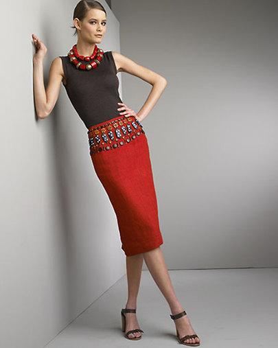 Очень оригинальная юбка-карандаш с завышенной талией.  (Владивосток.