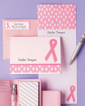 Personalized Pink Ribbon Stationary Shows Your Care in a Chic & Customized