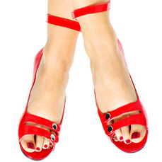 Patent Red Leather Peep Toe Flats for